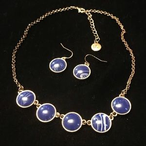 Lauren Conrad royal blue/gold necklace and earring